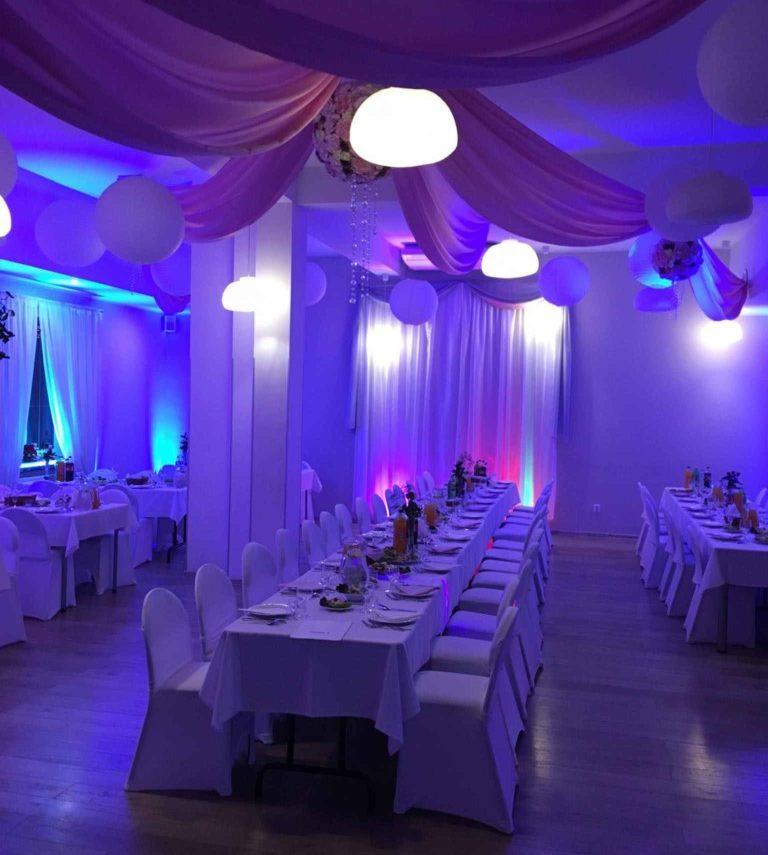 Sala Bankietowa u Błażeja - przyjęcia, wesela, noclegi, catering - Drzewce Kolonia, w pobliżu Nałęczowa (oświetlenie sali)